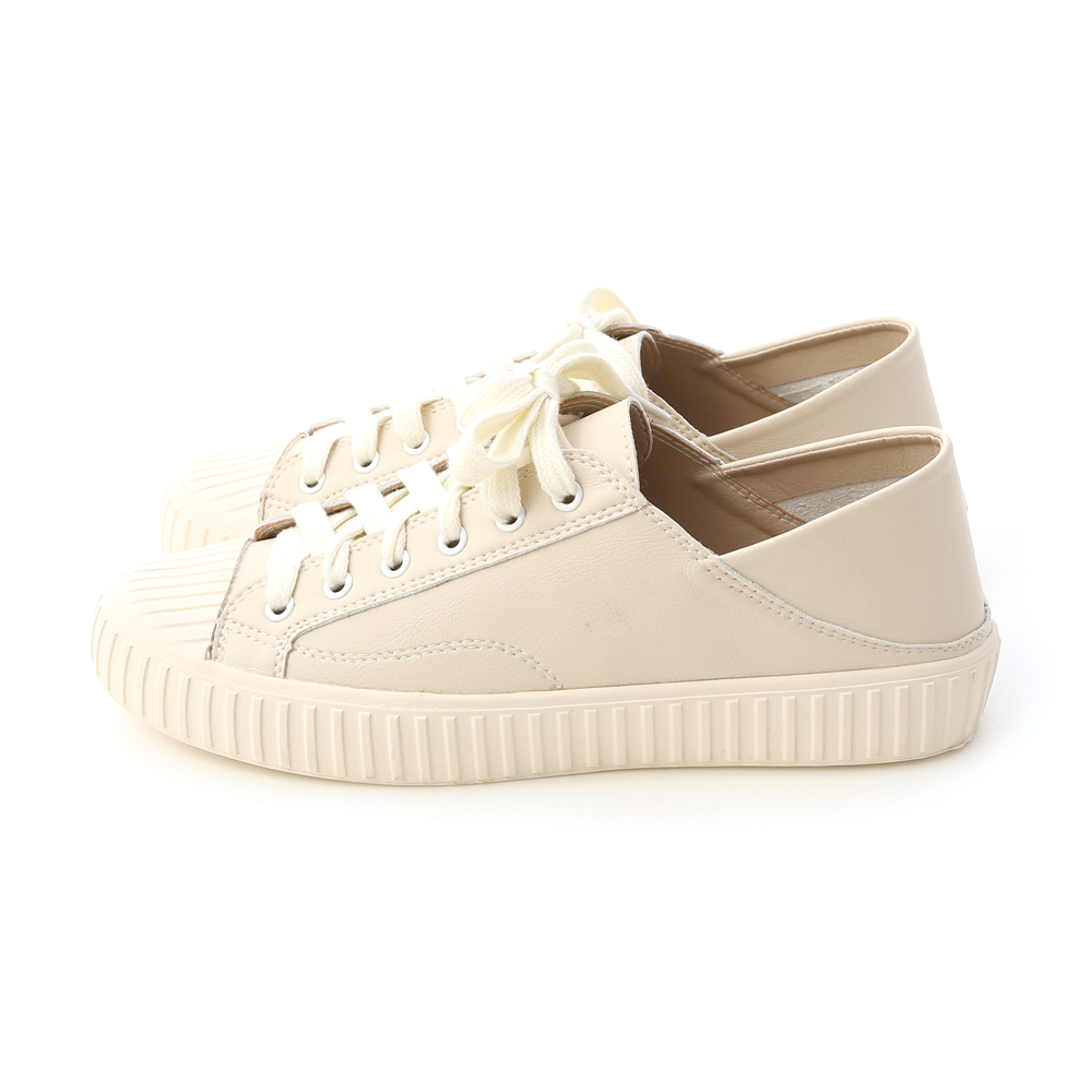 Two-way Faux Leather Fold Back Sneakers Beige