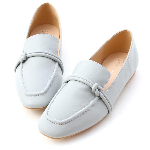 清新女孩.雙線扭結平底樂福鞋