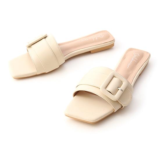 夏日悠遊.大方釦方頭平底拖鞋 香草米