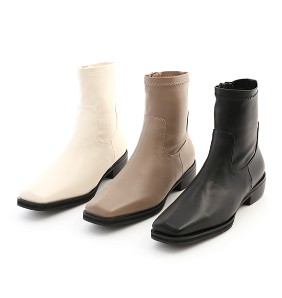 極度顯瘦.素面剪裁方頭低跟襪靴 時尚黑