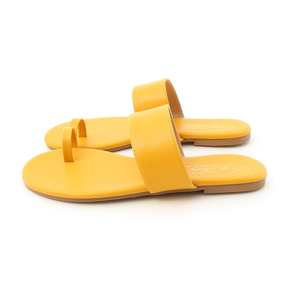 夏日微醺.一字寬帶套指涼拖鞋 向日葵黃