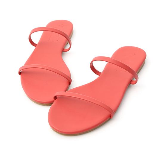 清涼夏日.二條細帶平底涼拖鞋 珊瑚紅