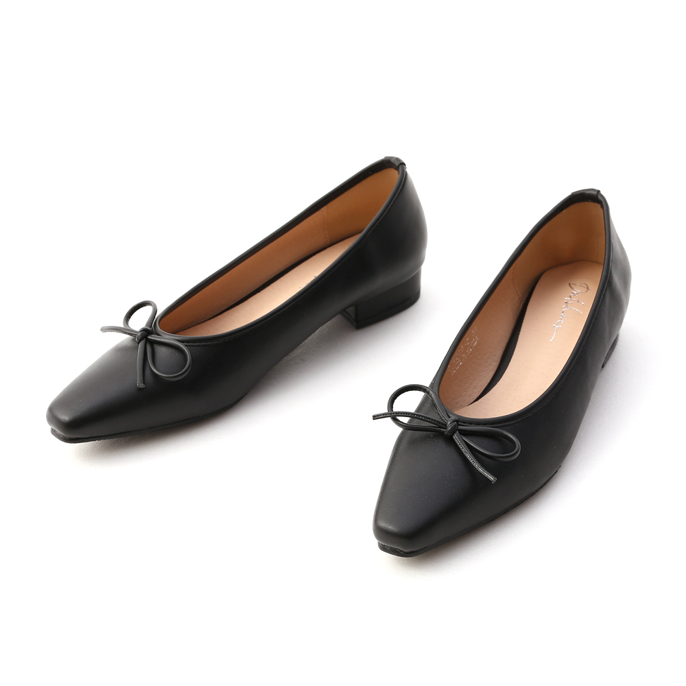 漫步女孩.尖頭低跟芭蕾娃娃鞋 時尚黑