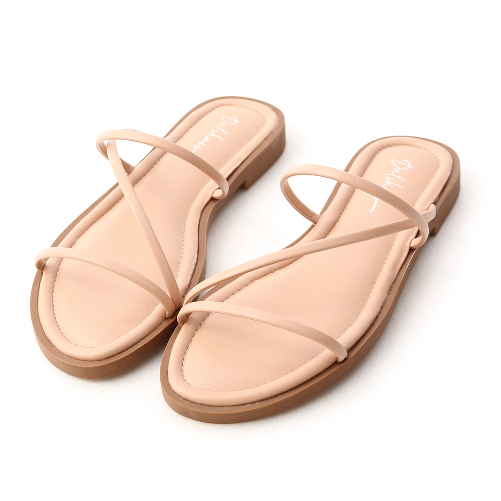 Z Strap Cushioned Sandals Nude pink