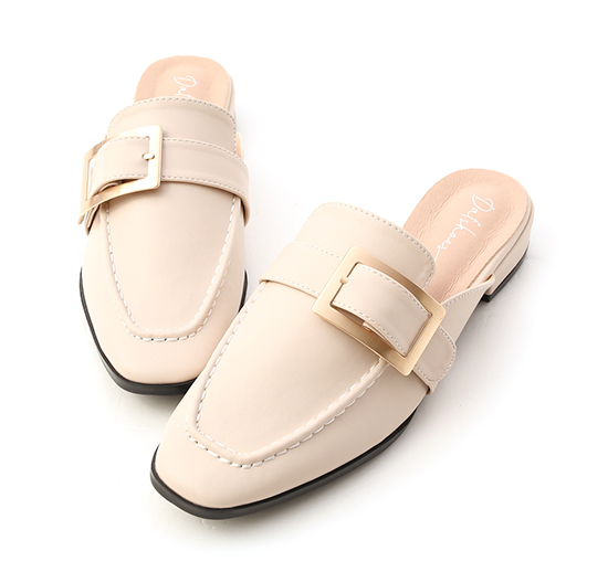 Elegant Square Ring Low Heel Mules Off-White