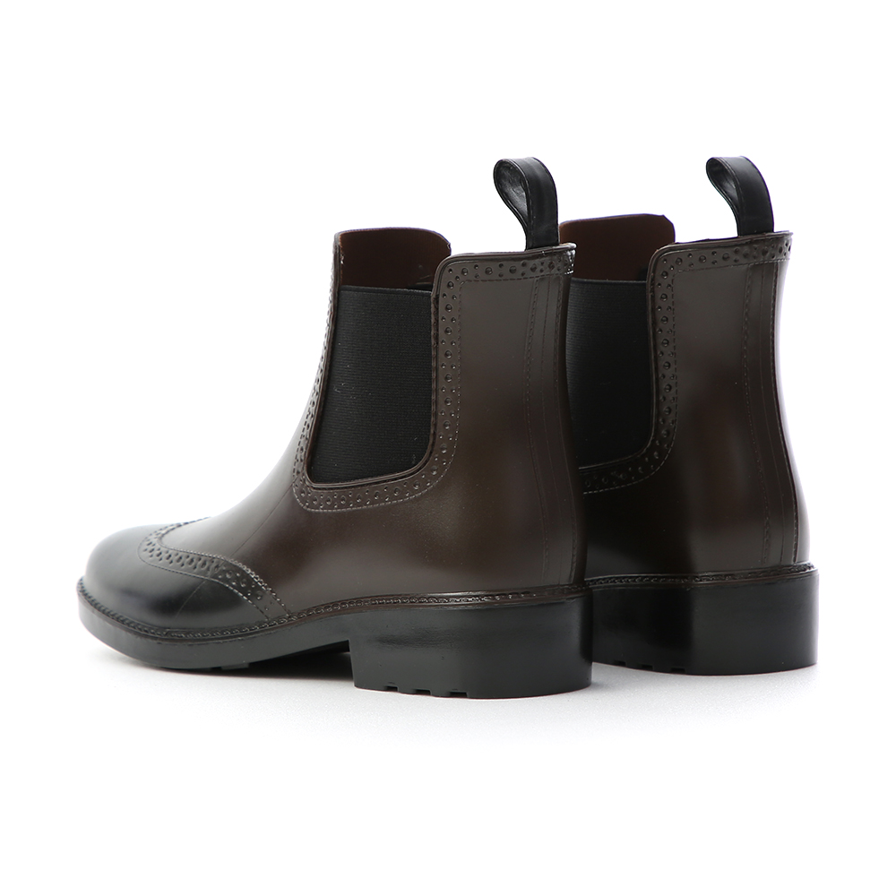 Two Tone Brogue Rain Boots Brown