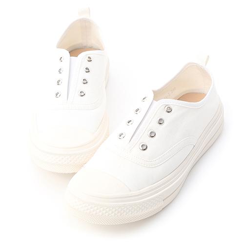 D+AF 活力悠閒.無綁帶設計帆布休閒鞋
