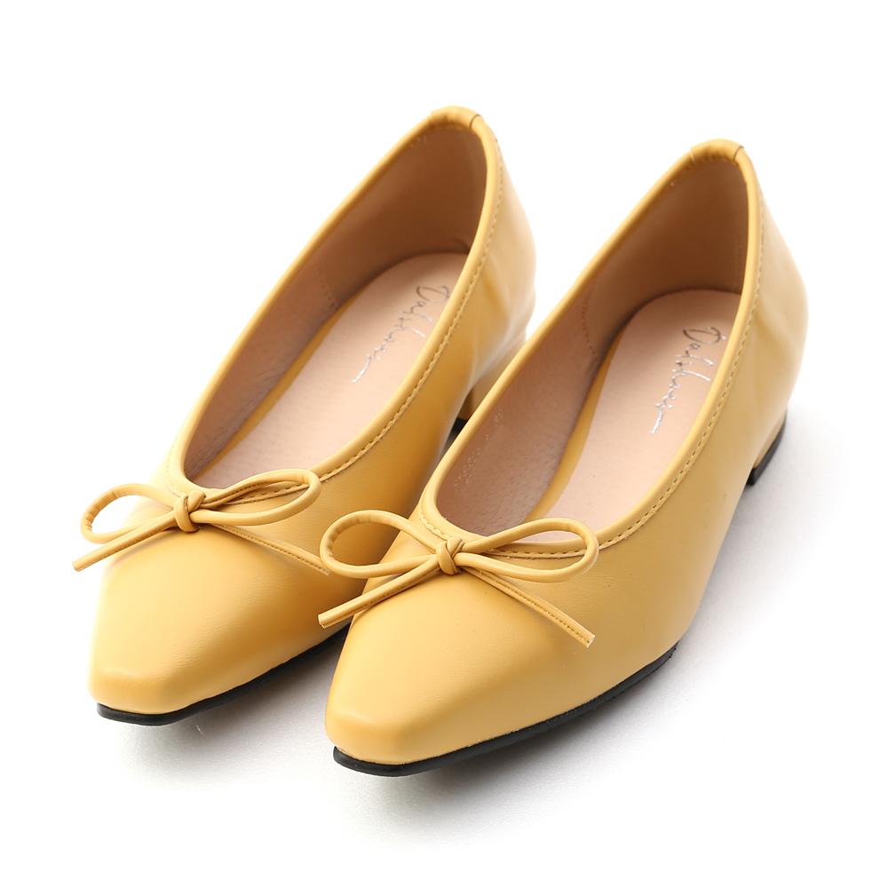 漫步女孩.尖頭低跟芭蕾娃娃鞋 芥末黃