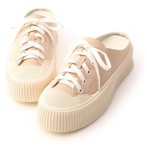 樂活主題.休閒帆布厚底穆勒鞋