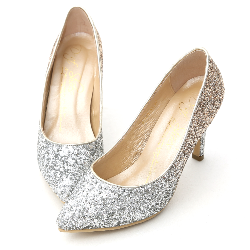 Gradient Glitter Pointed Toe High Heels Champagne gold