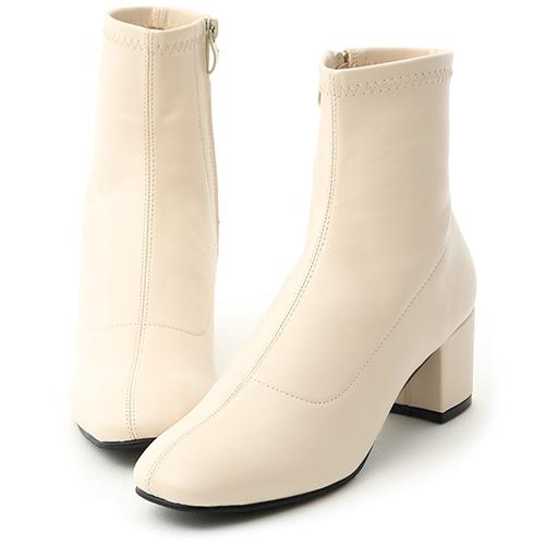 D+AF 秋冬定番.簡約素面方頭中跟短靴