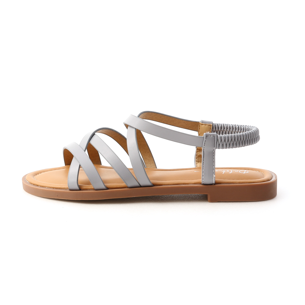 Soft Faux Leather Cross Straps Sandals Serenity Blue