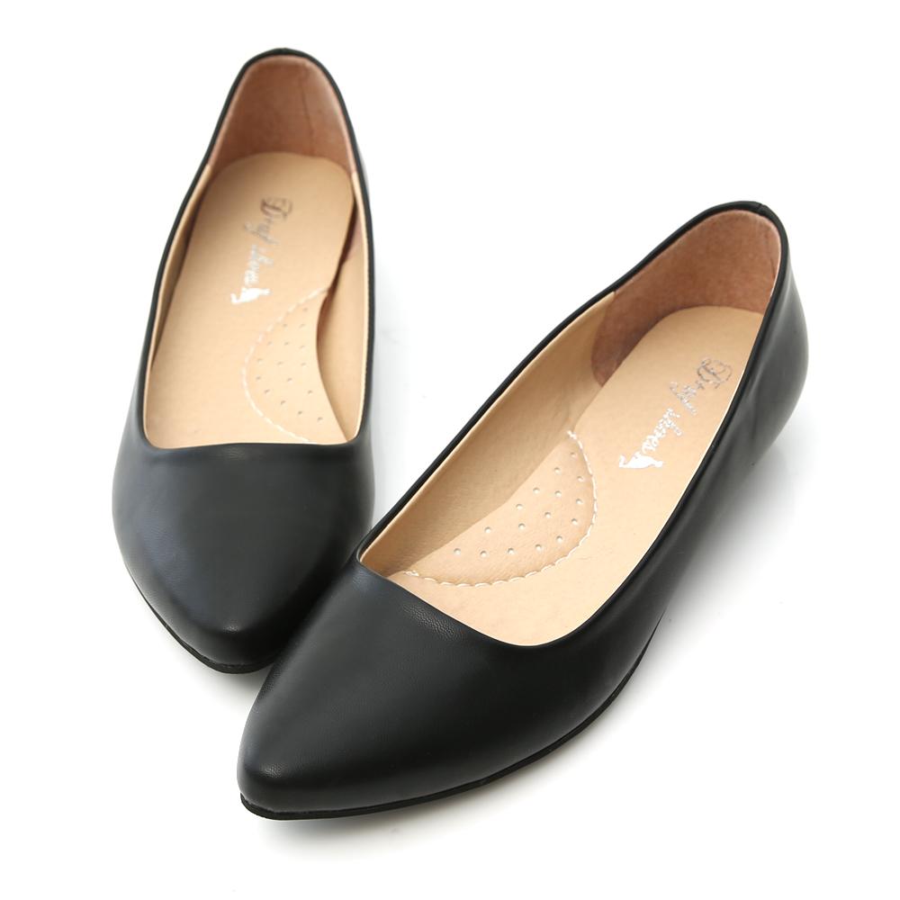 通勤必備.MIT素面微尖頭2cm低跟鞋 時尚黑