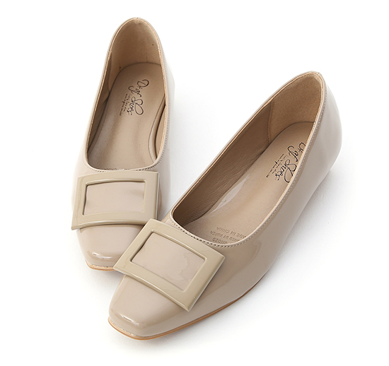 Square Buckle Patent Leather Flats Nude