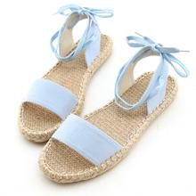 粉彩一字綁帶繞踝草編涼鞋