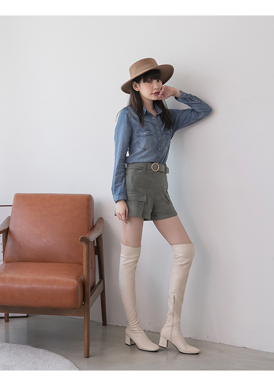 Classic Square Toe Tall Boots Off-white