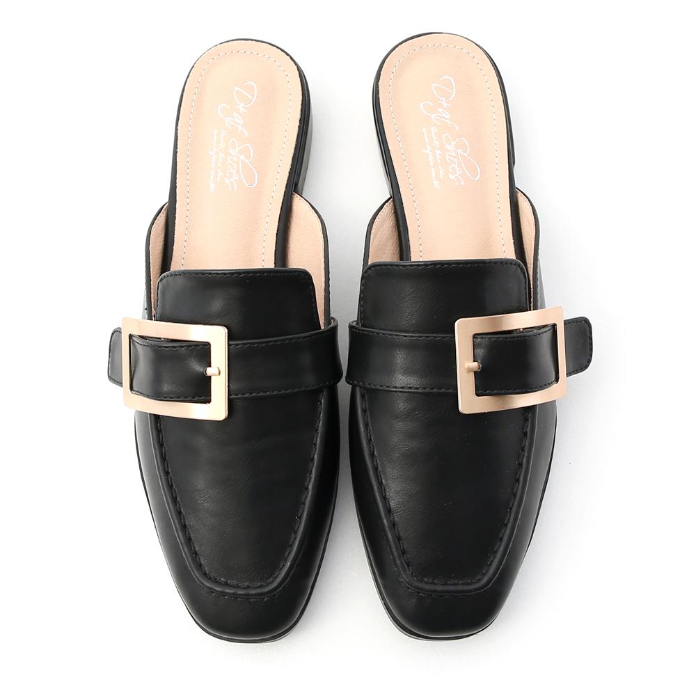 Elegant Square Ring Low Heel Mules Black