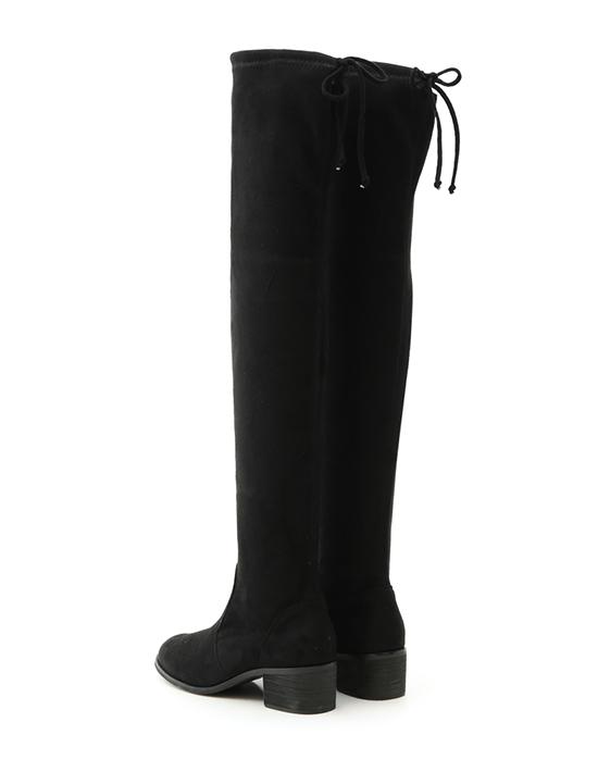 超模比例.顯瘦感絨料低跟膝上長靴 時尚黑