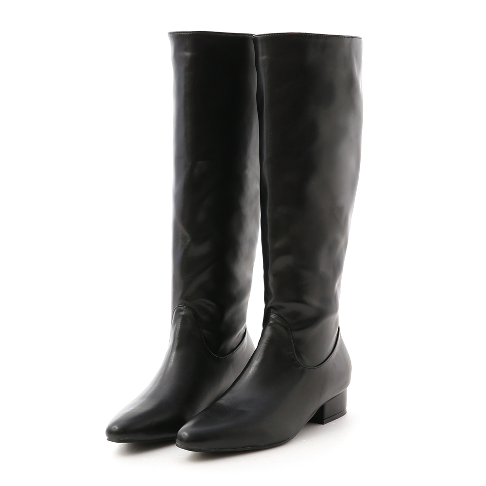 Pointed Toe Low Heel High Boots Black