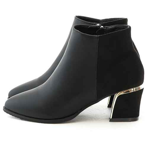 D+AF 玩美視覺.拼接設計鍍金跟尖頭短靴