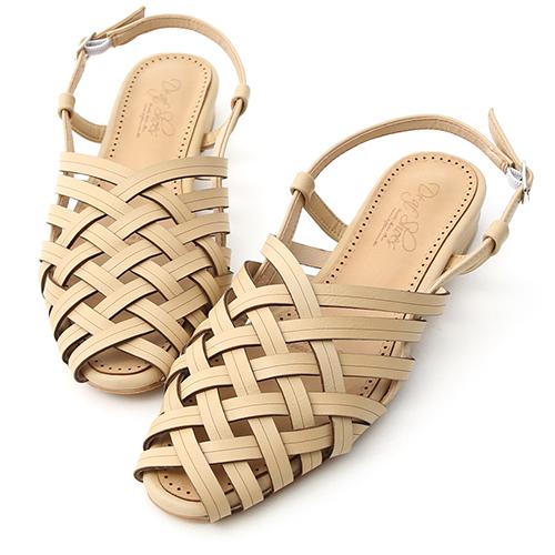 D+AF 古著韓風.多層次交叉低跟編織涼鞋