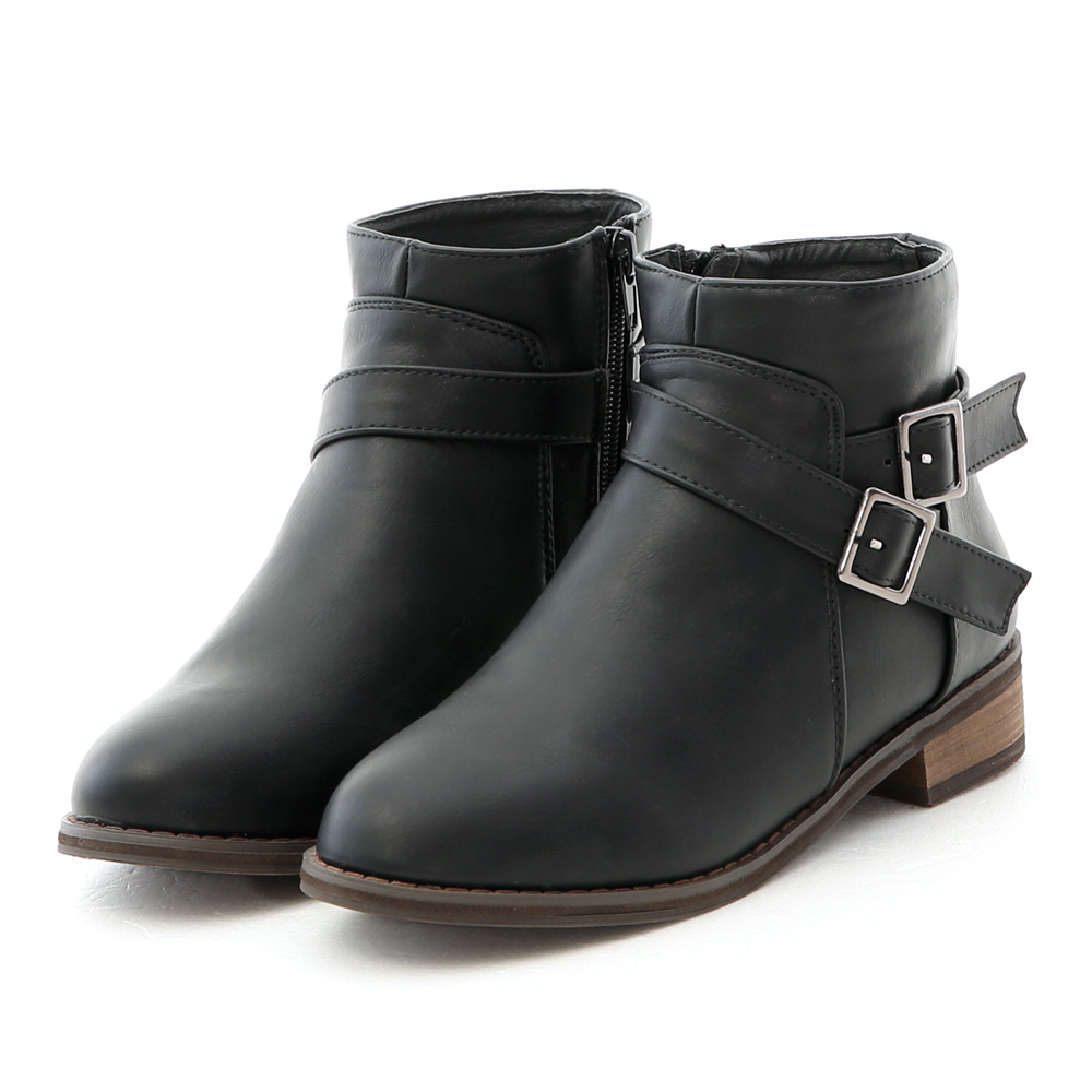Side Buckle Ankle Boots Black