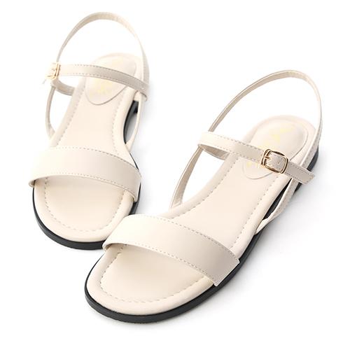 自信漫步.一字寬版繫帶平底涼鞋
