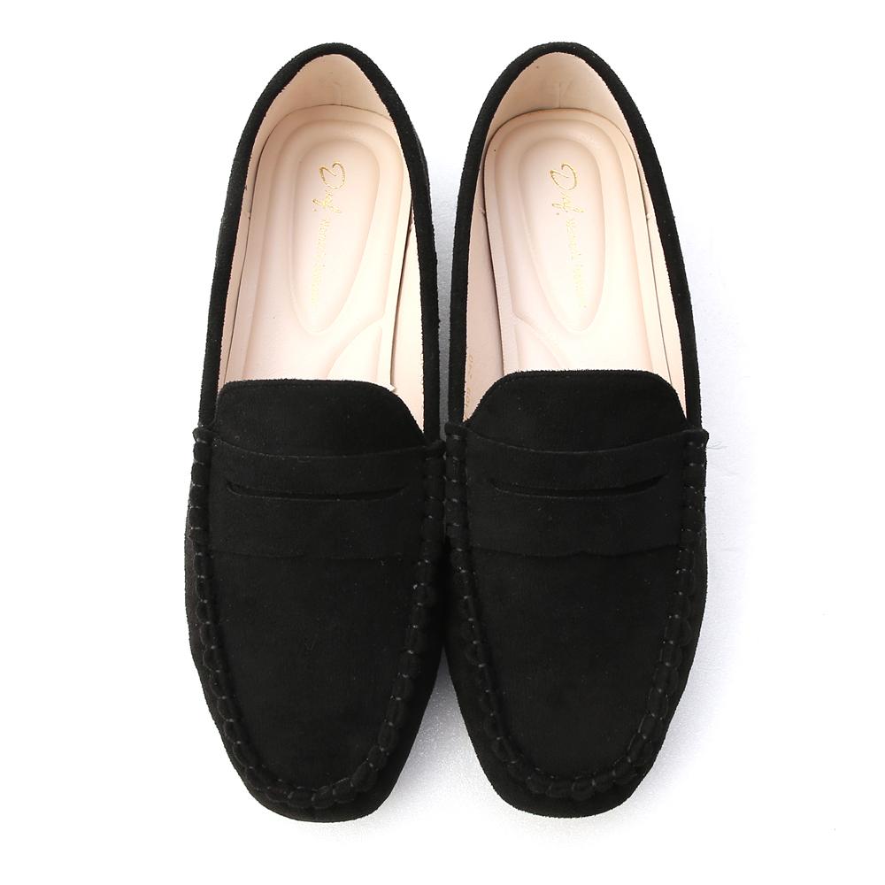 歡樂主張.經典款絨料樂福鞋 時尚黑
