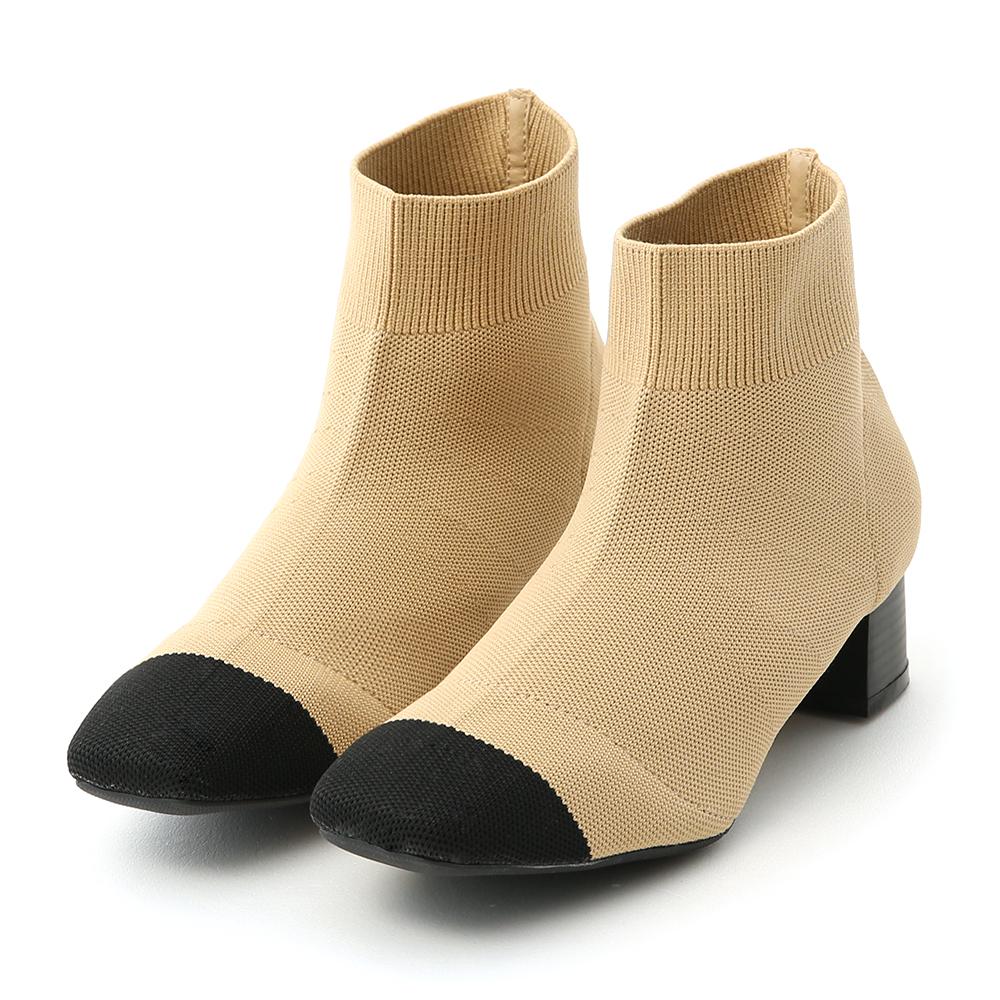名品氣質.小香風方頭彈力針織襪靴 百搭杏