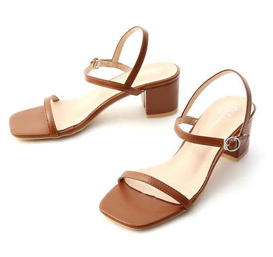 Square Toe Strappy Mid Heel Sandals Brown