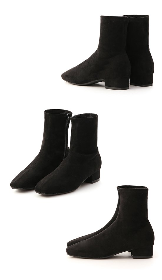 Square Toe Low Heel Sock Boots Textured black