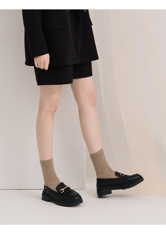 Thick Sole Horsebit Loafers Black