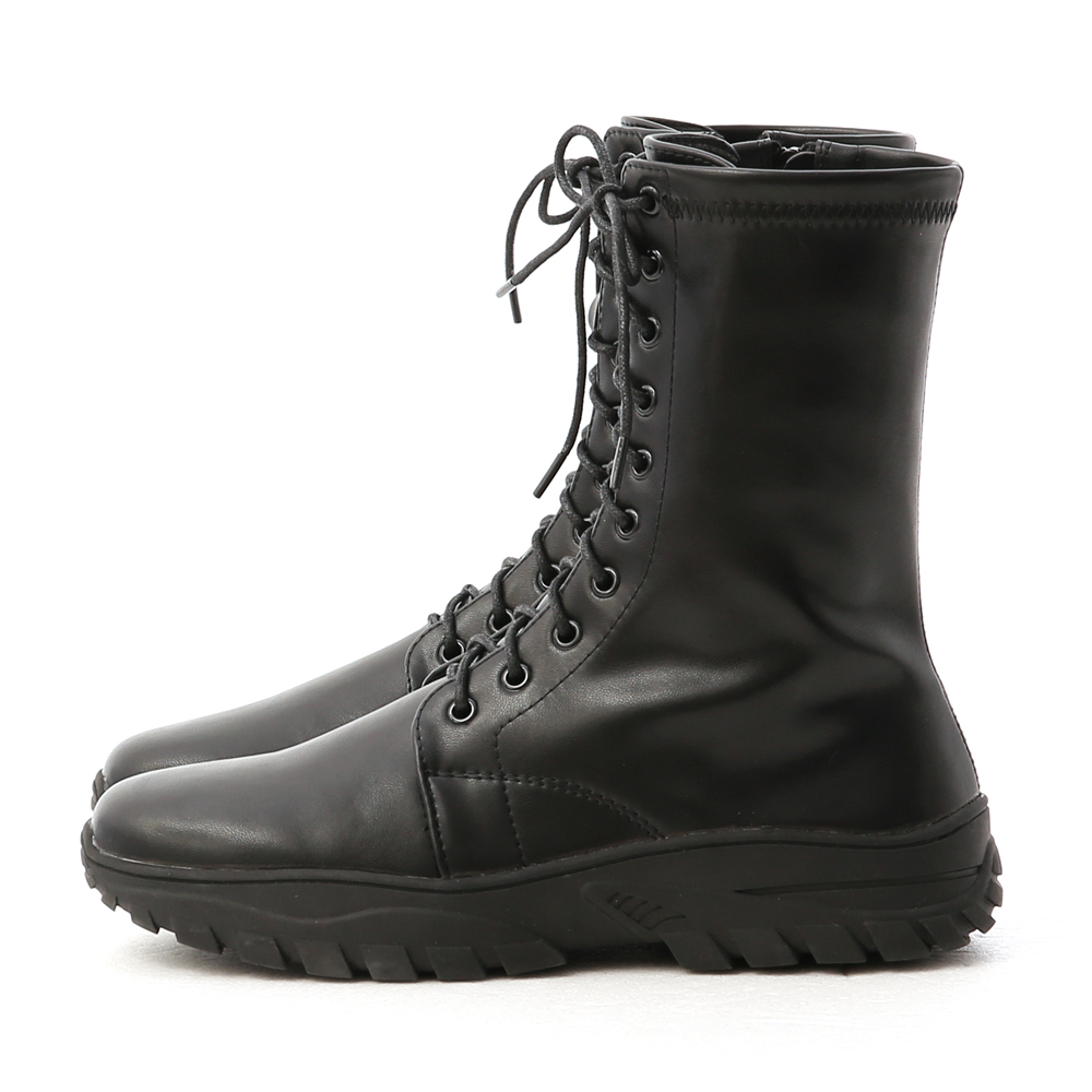 Sporty Lace-up Combat Boots Black