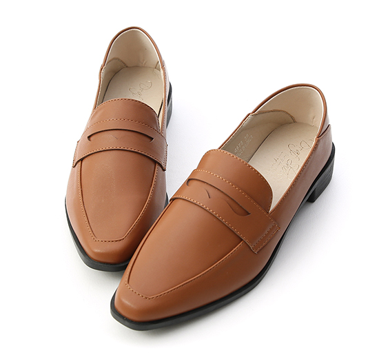 Classic Pointed Toe Penny Loafers Brown