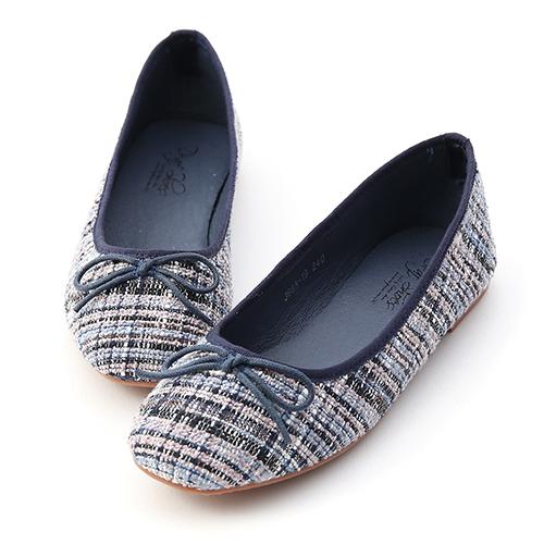 D+AF 浪漫秋氛.格紋毛呢芭蕾娃娃鞋