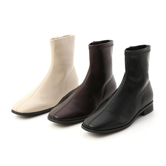 Square Toe Low Heel Sock Boots Dark Brown