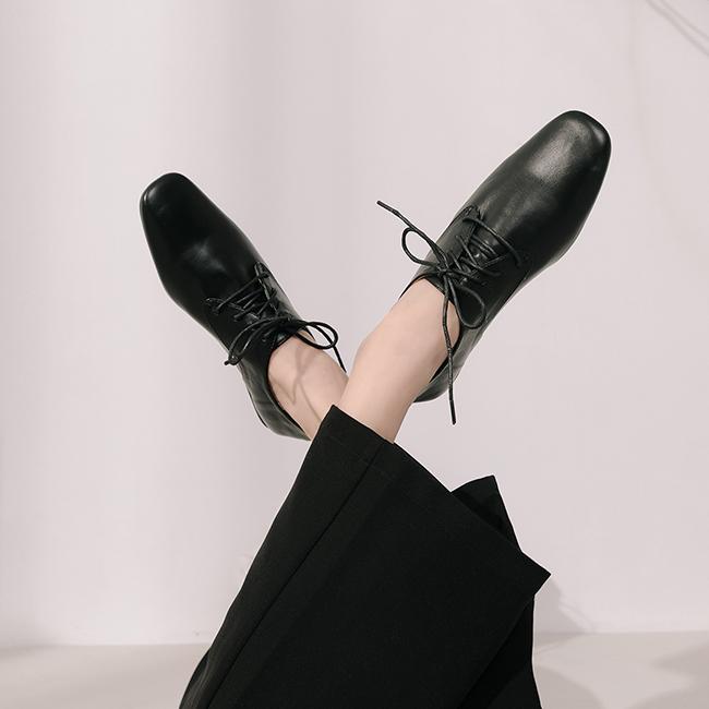 小文青.復古方頭綁帶牛津鞋 時尚黑