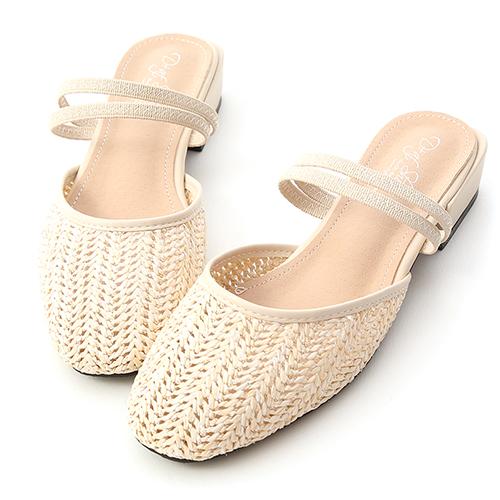 微涼氣息.草編材質二穿式穆勒鞋