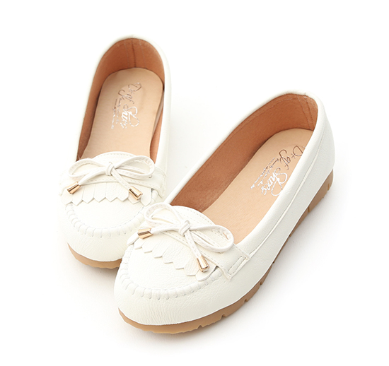MIT Bow and Fringe Detail Moccasins White