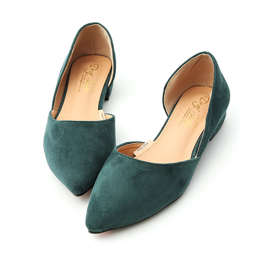 Faux Suede Pointed Toe D'orsay Shoes Green