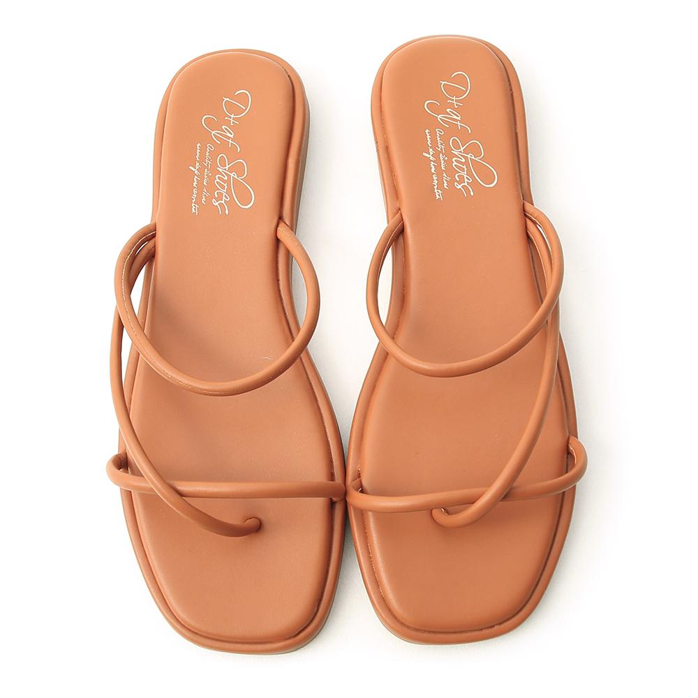Strappy Flip Flops Brown