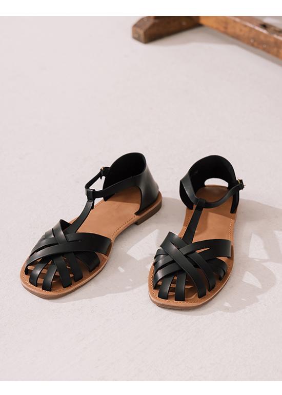 古著品味.層次交叉T字編織涼鞋 時尚黑