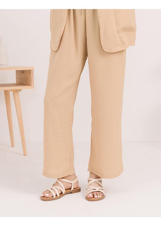 Soft Faux Leather Cross Straps Sandals Cream