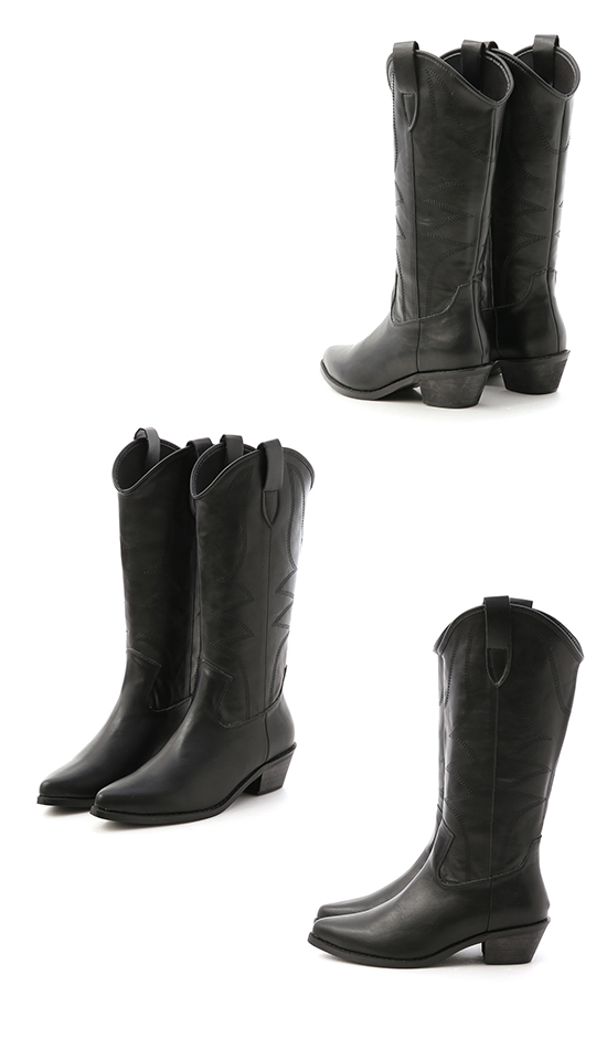 V-cut Stitched Cowboy Boots Black