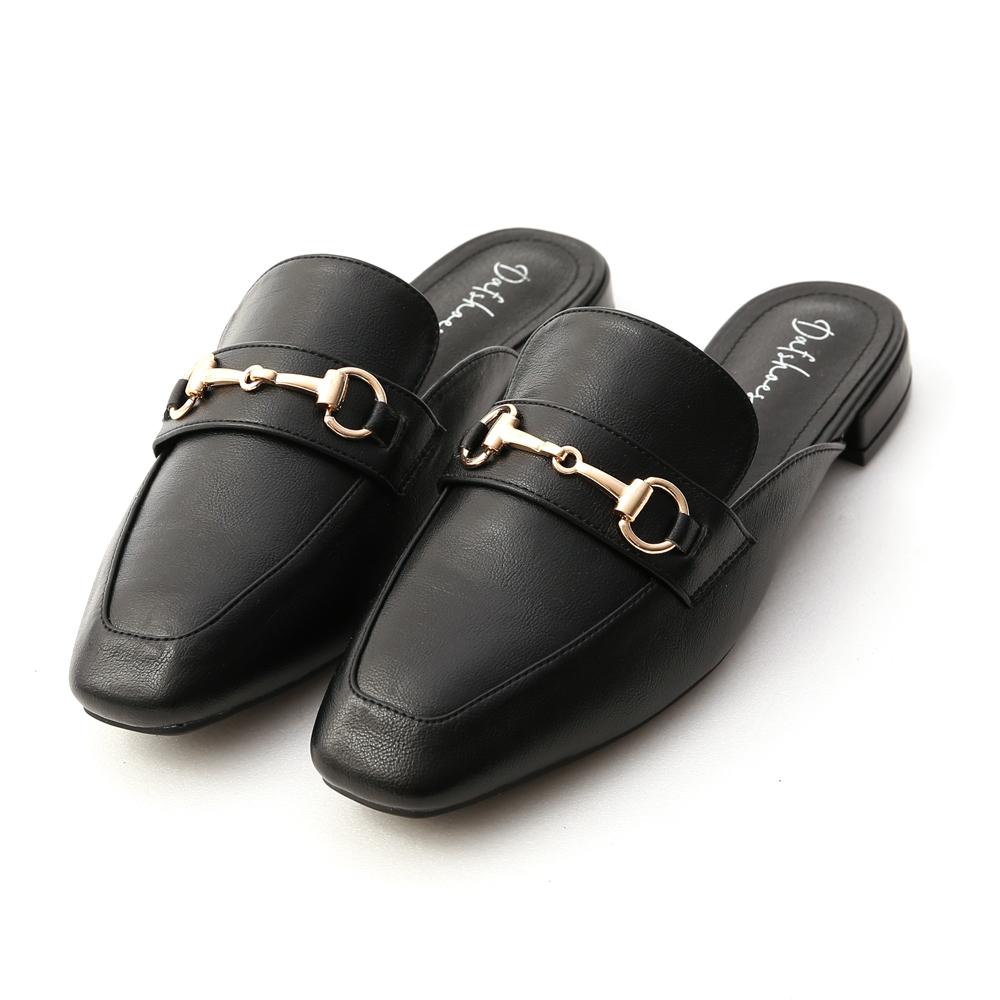 優質品味.馬銜釦方頭低跟穆勒鞋 時尚黑