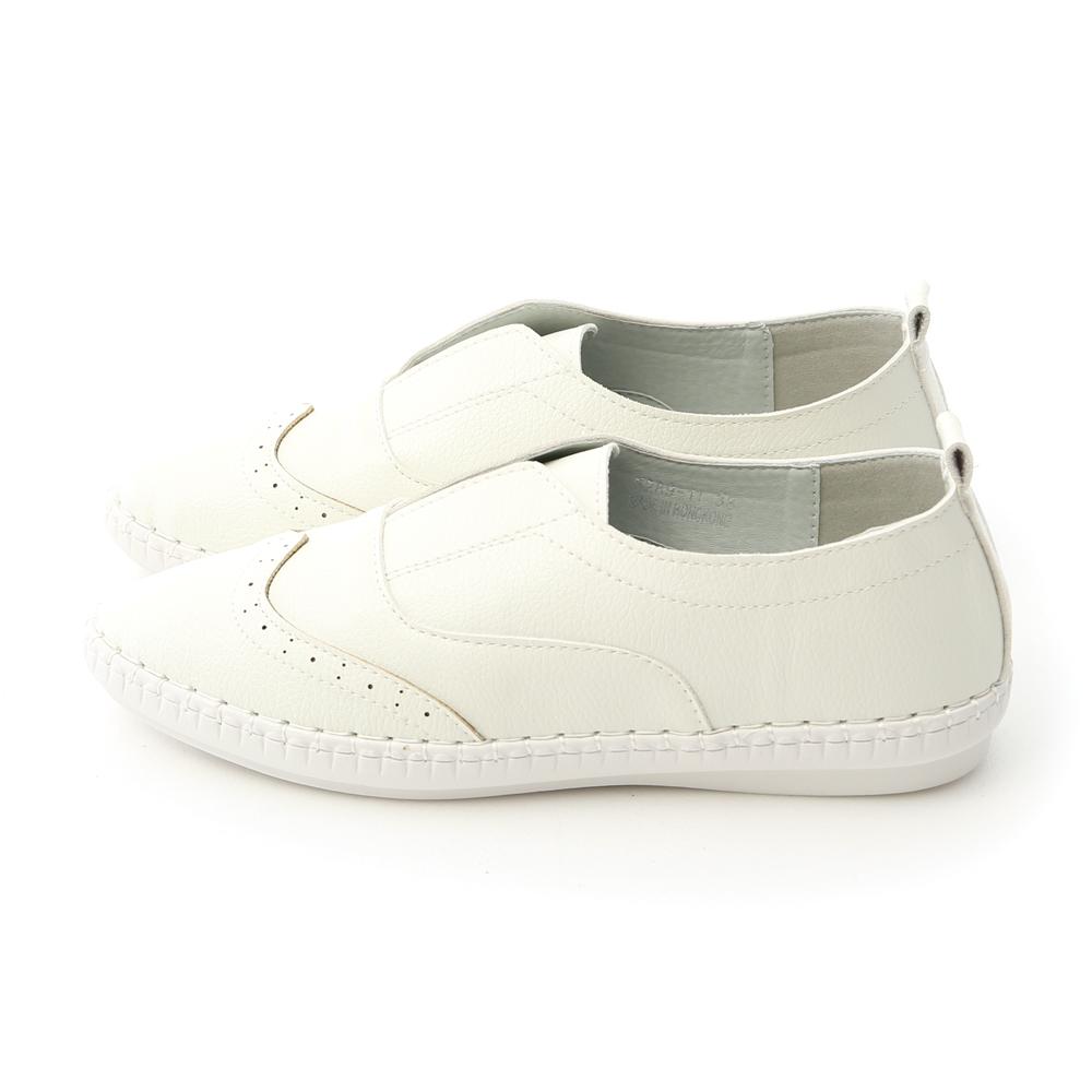 純白生活.超軟縫線底無綁帶小白鞋 人氣白