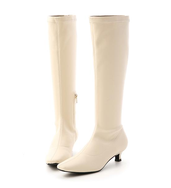 Plain Kitten Heels Tall Boots Vanilla