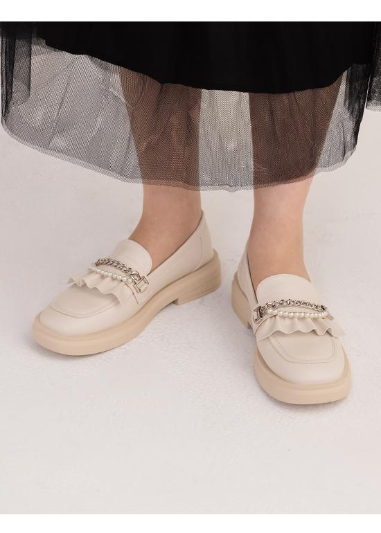 歌德風格.珍珠鍊條小波浪樂福鞋 香草白