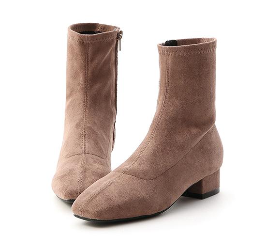 人氣指標.素面車線方頭低跟襪靴 摩卡灰棕