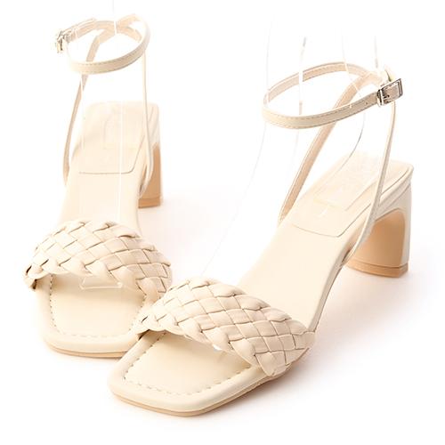 巴黎印象.一字編織繫踝扁跟涼鞋
